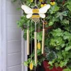 Bee & Honeycomb Windchime - 45cm Hanging  Garden Sun Catcher Wind Chimes